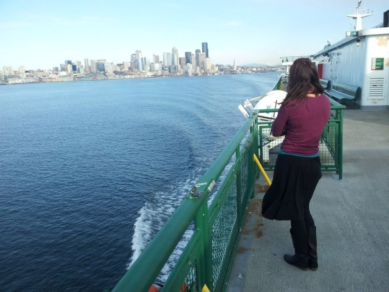 Looking back at Seattle from the ferry